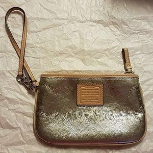 Coach Silver w/Tan change purse